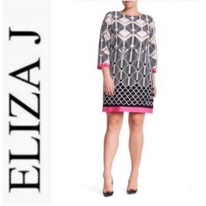 Eliza J Border Print Jersey Shift Dress 18W